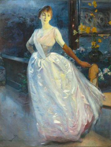 Portrait de madame Roger Jourdain, femme du peintre, (1886 ou 1896), huile sur toile, 200 x 153 cm.