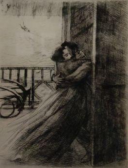 """L'amour (1885-1887) extrait de la """"La femme"""" : suite de douze planches gravées à l'eau-forte, à la pointe sèche et à l'aquatinte."""