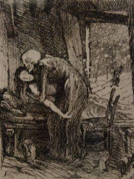 La Mort compatissante ou Charitable (de la série «Elle»), (1900-1901) eau forte.