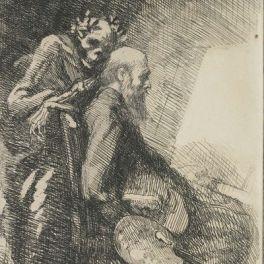 Exigeante ou Le Peintre et la Mort (de la série «Elle»), (1900-1901) eau forte, 14,2 x 11,4 cm.