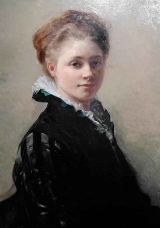 Détail du Portrait de Jeanne Gorges, (1874). Huile sur toile. ©JITMF