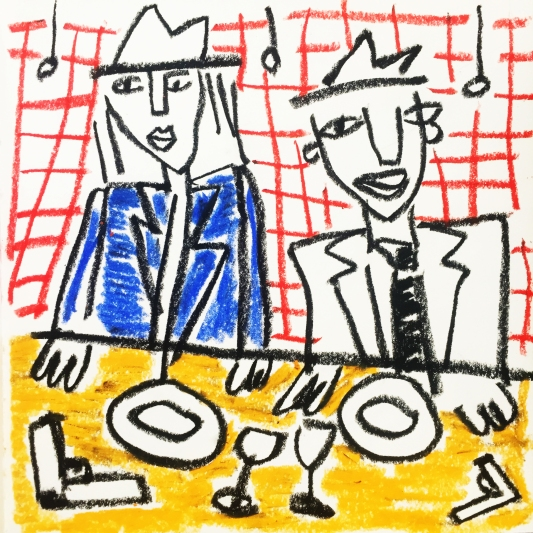 Gangsters at a Restaurant, 20x20cm, 2018 © Nina Deswarte